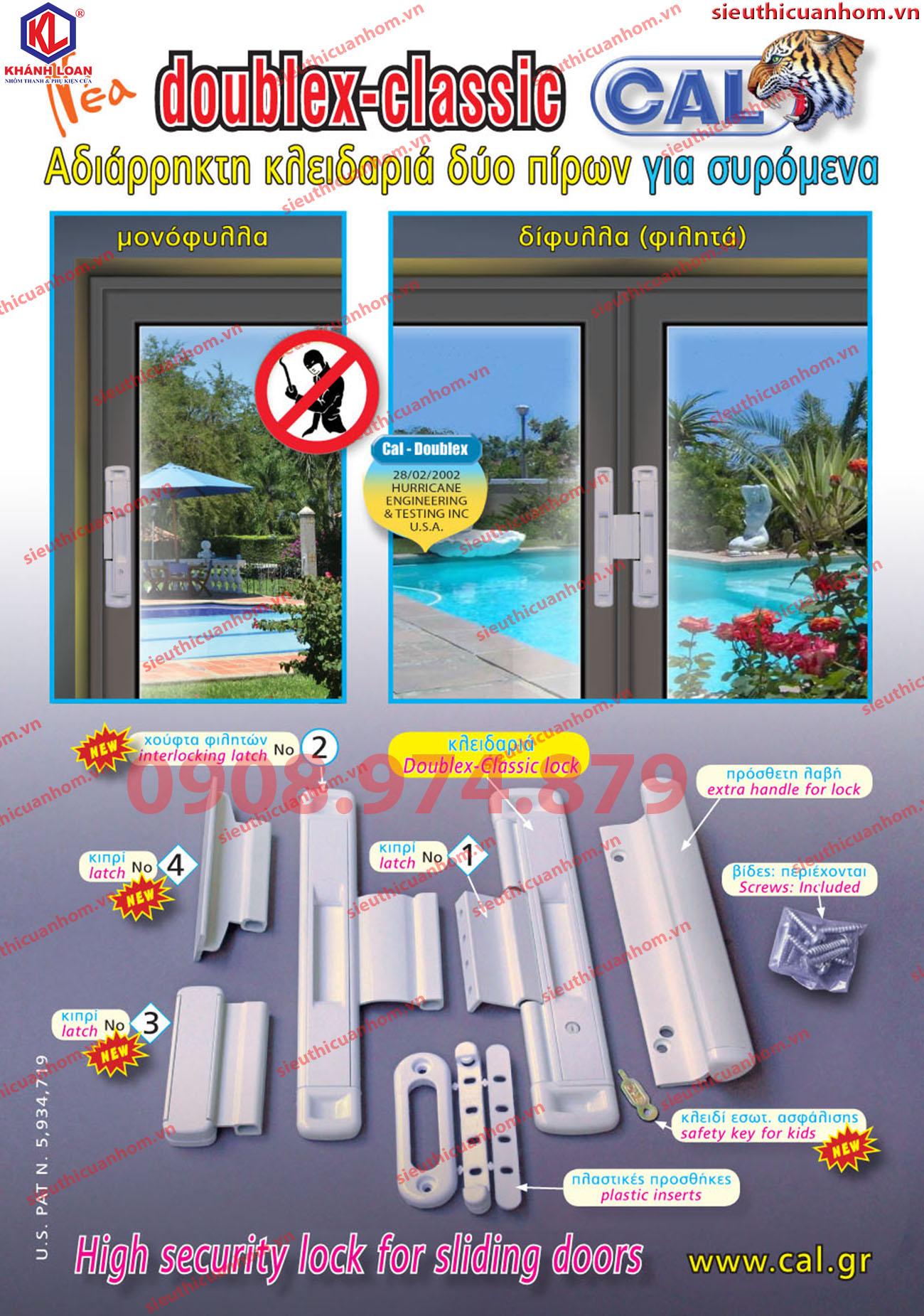 Chốt an toàn cho cửa lùa hiệu CAl Hy Lạp DOUBLEX-CLASSIC