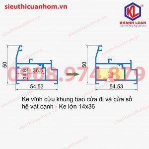 Ke vĩnh cửu khung bao cửa đi và cửa sổ mở hệ vát cạnh 14X36