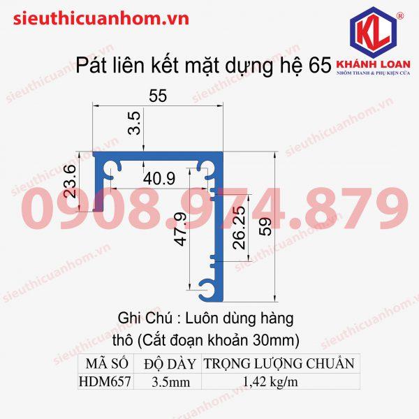 Pat liên kết mặt dựng nhôm Xingfa hệ 65 HDM657