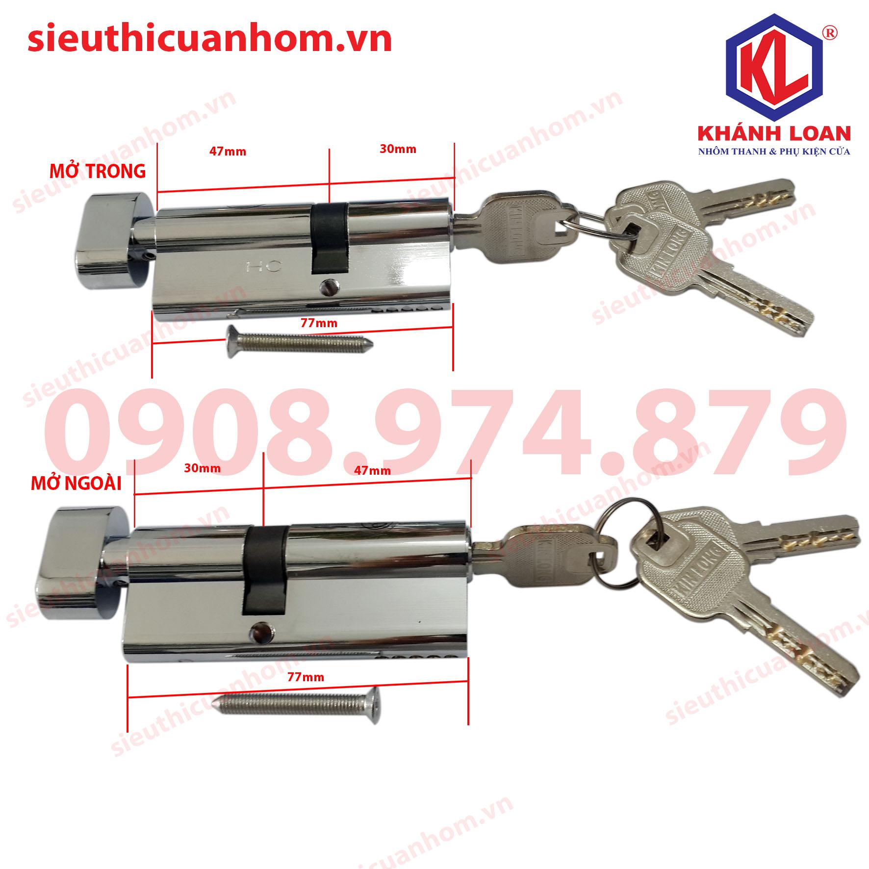 Lõi khóa 1 đầu chìa mở trong và mở ngoài nhôm Xingfa 55 - KIL3247T và KIL4732T