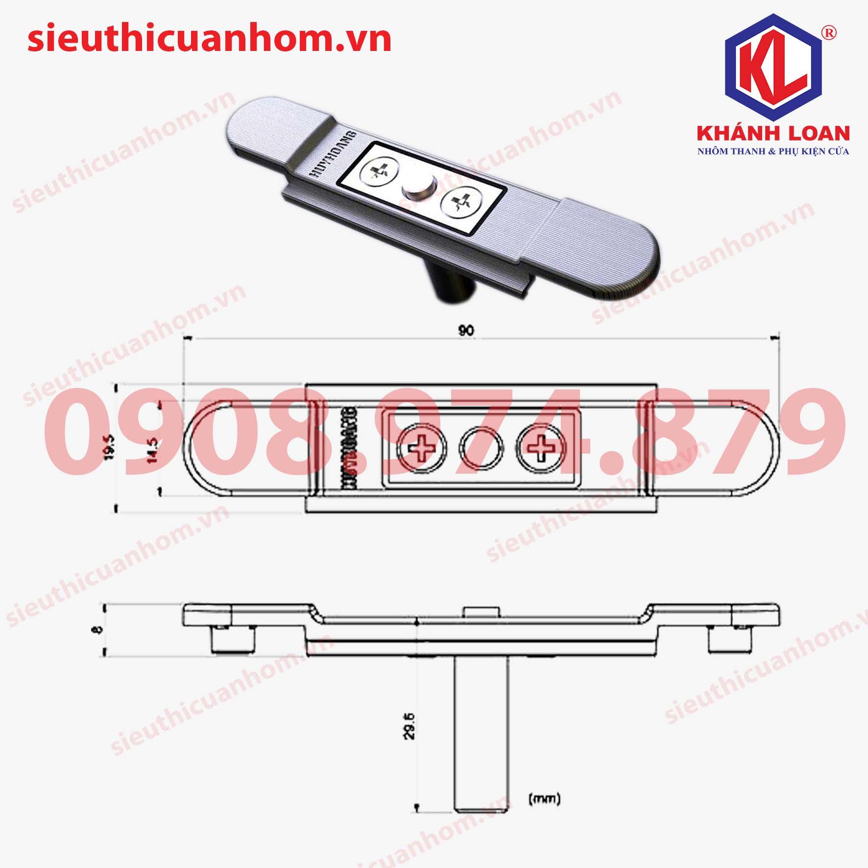 T liên kết tay nắm và thanh đa điểm cửa sổ hệ 55 hiệu Huy Hoàng HH-ZCD75