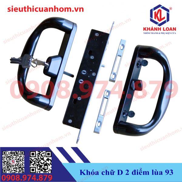 Khóa chữ D cửa lùa nhôm Xingfa hệ 93 kiểu mới